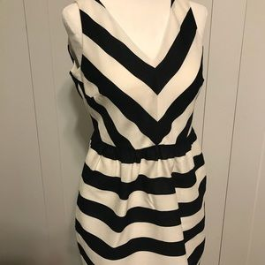 Ann Taylor LOFT Black and White Striped Dress